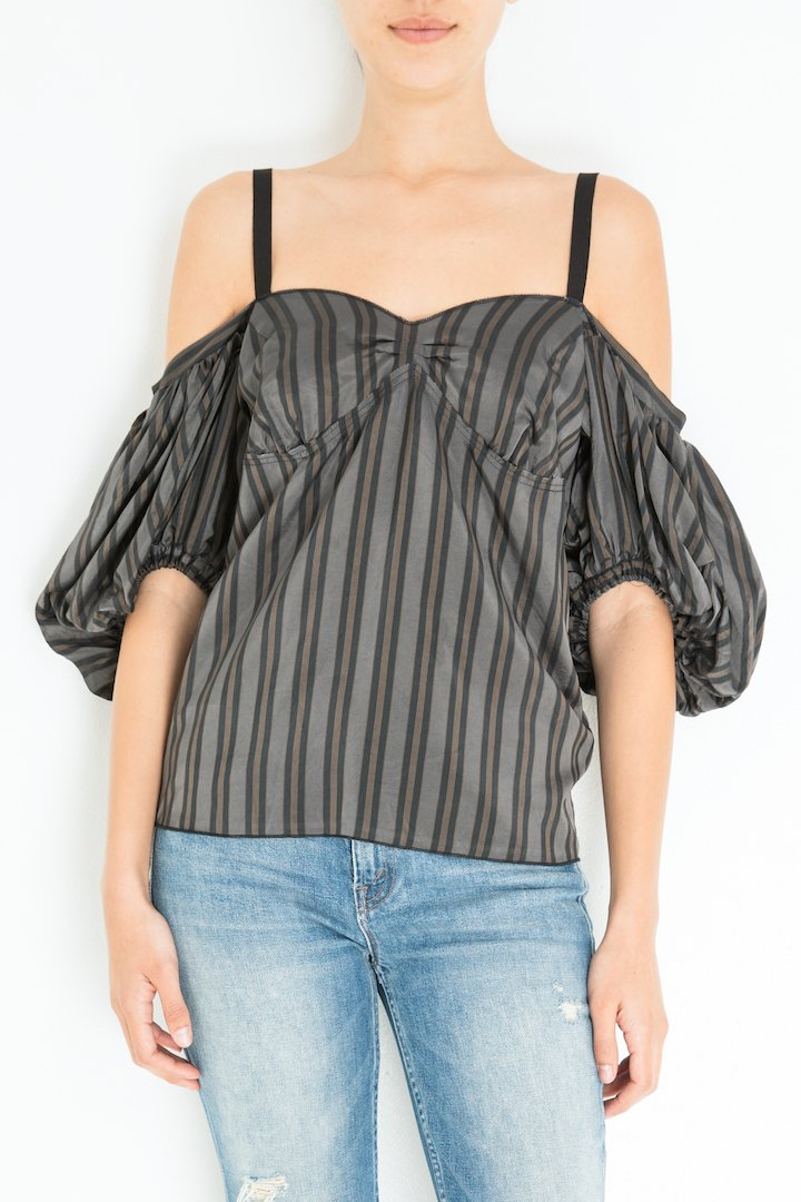 Hache off-shoulder-stripe-shirt