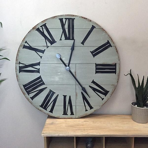 Oversized Rustic Grey Wooden Wall Clock