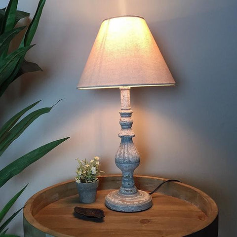 Rustic Wooden Spindle Table Lamp & Shade