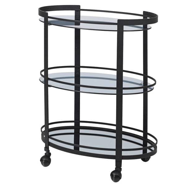 Black Frame with Smoked Glass Drinks Trolley
