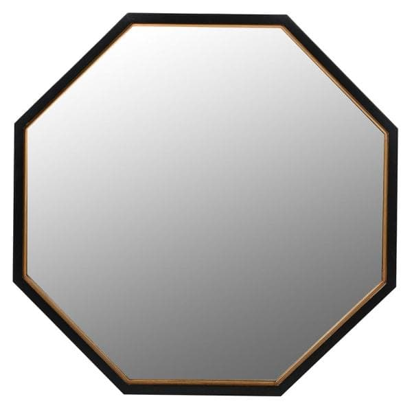 Large Black and Gold Octagonal Wall Mirror