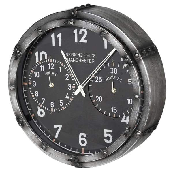 Industrial Spinning fields Wall Clock at the Farthing