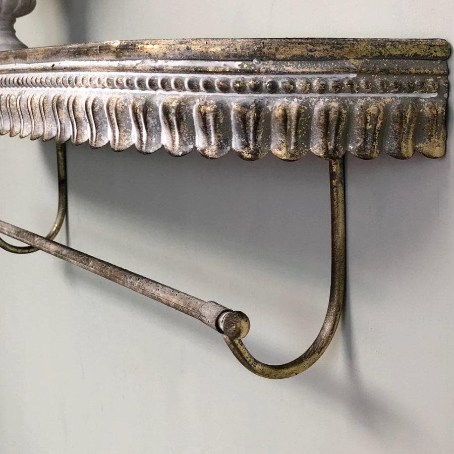 Distressed Gold Fluted Shelf with Rail | Farthing 1