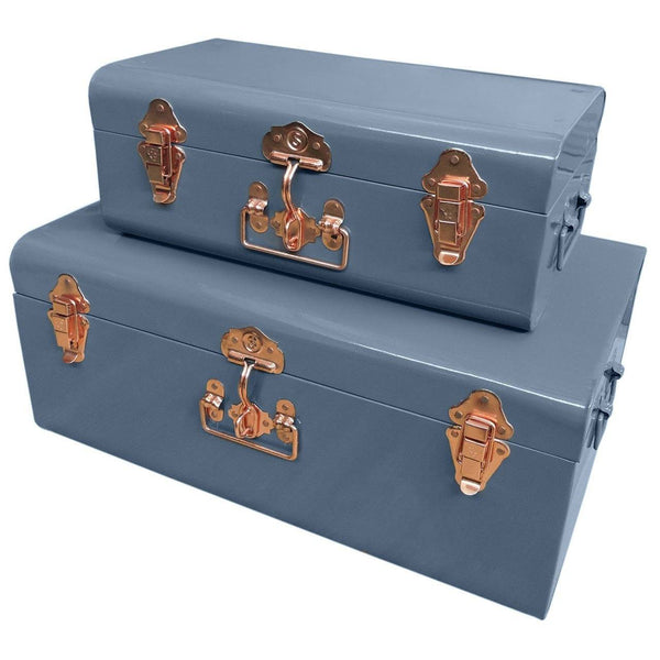 Two Metal Storage Trunks - Grey & Copper - The Farthing