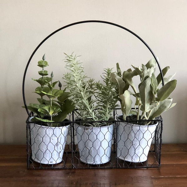 3 Potted Faux Herbs in a Rustic Wire Holder | Farthing