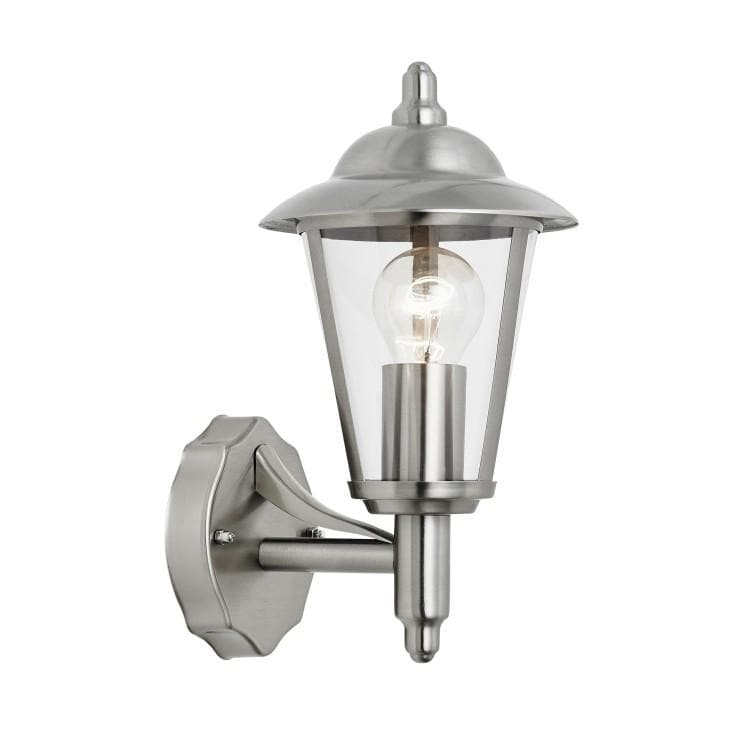 Exterior Brushed Silver Metal Uplighter Wall Light