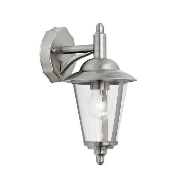 Exterior Brushed Silver Metal Downlighter Wall Light