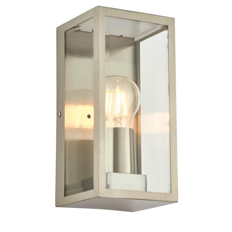 Outdoor Brushed Silver Box Lantern