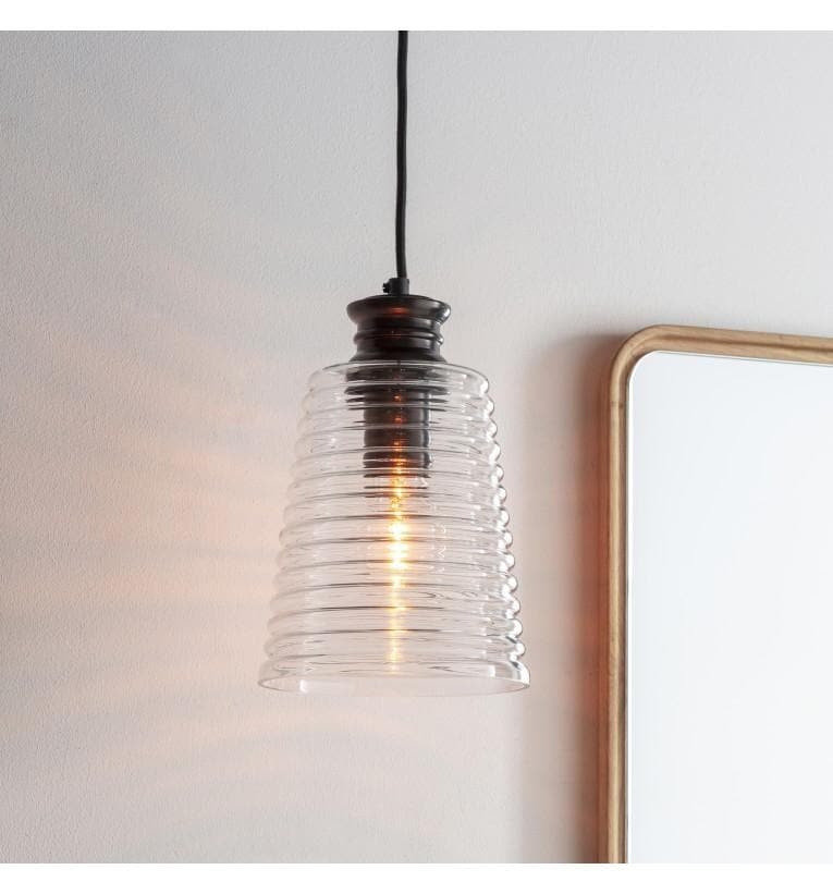 Ribbed Glass Cone Pendant Light