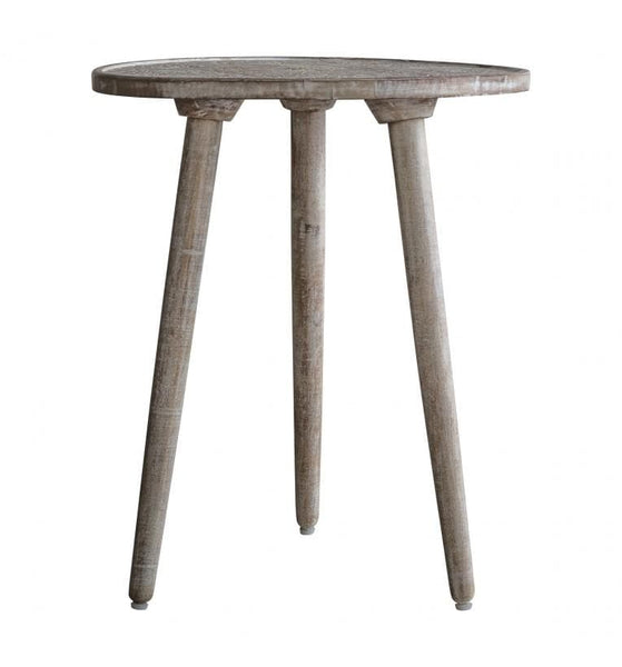 Rustic Wooden Carved Barhan Side Table