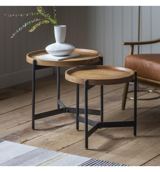 Wood Topped Tri Legged Table Set