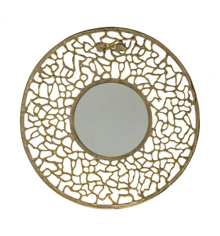Gold Cut Out Round Metal Mirror