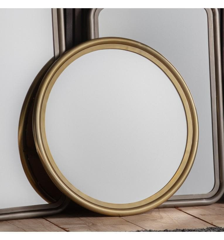 Antique Brass Rim Round Mirror