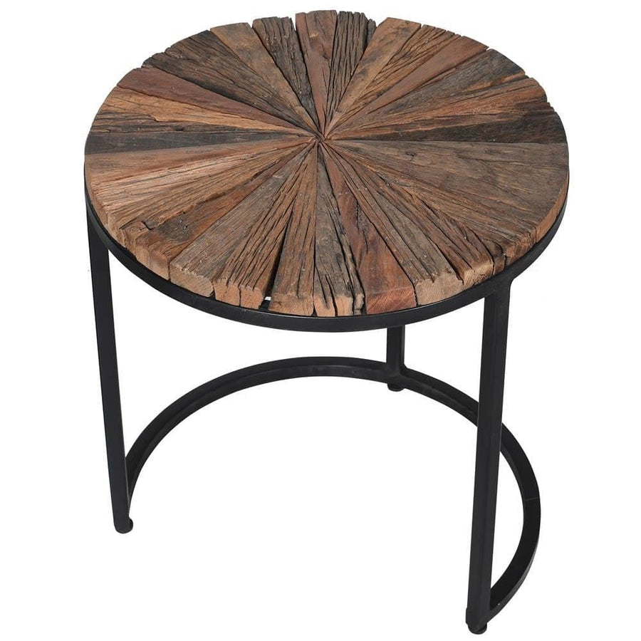 Set of Three Round Rustic Nestling Tables at the Farthing