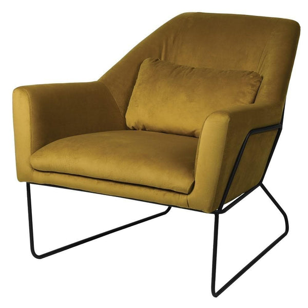 Framed Mustard Velvet Occasional Chair | The Farthing