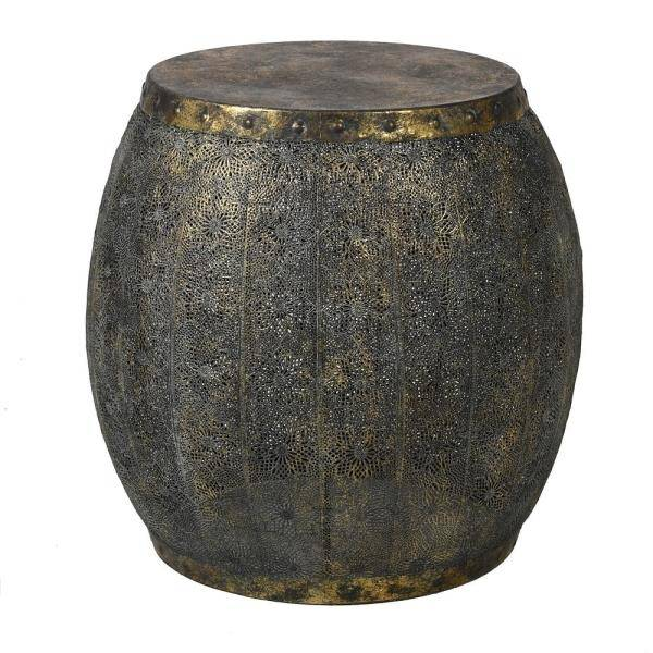 Distressed Metal Mesh Drum Side Table