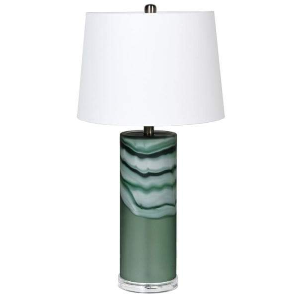 Tall Green Glass Table Lamp with Shade at the Farthing