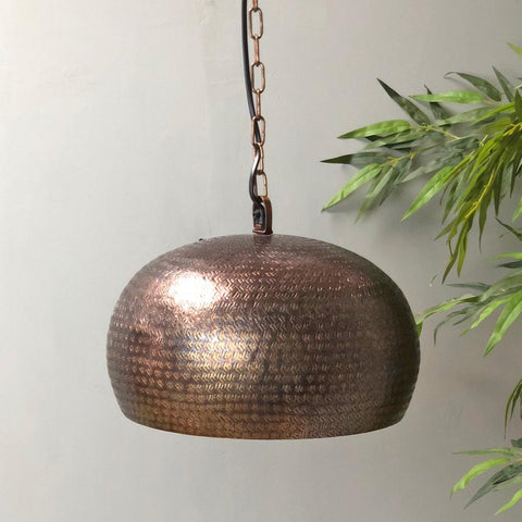 Antiqued Bronze Metal Pendant Light | Farthing 1