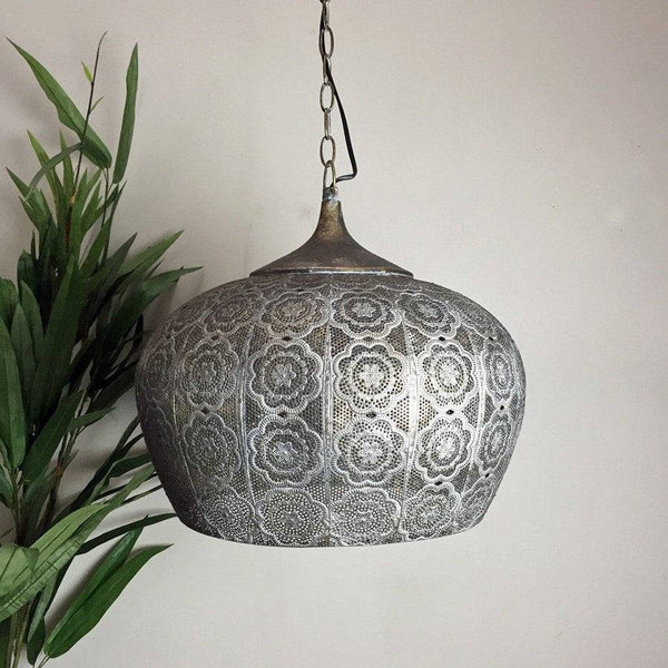 Aged Metal Filigree Pendant Light - The Farthing