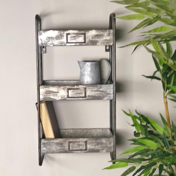 Aged Metal Wall Storage Unit at the Farthing