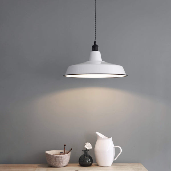 Soft White Enamel Pendant Light at the Farthing