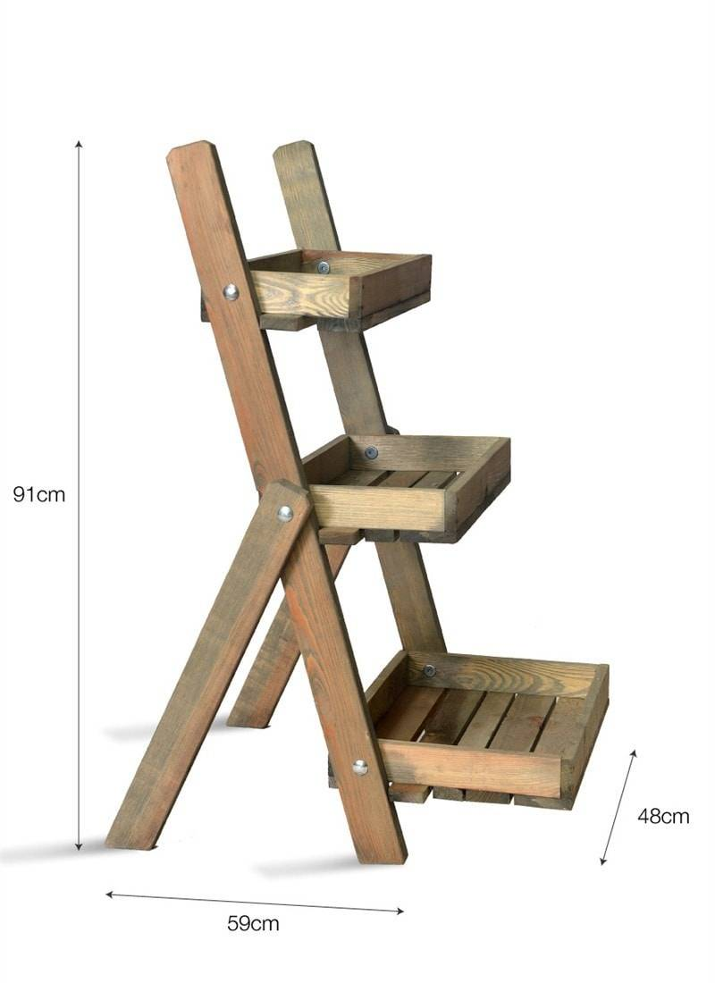 Rustic Wooden Aldsworth Plant Pot Ladder The Farthing