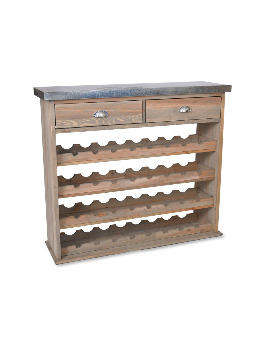 Rustic Wood & Metal Topped Wine Store Console