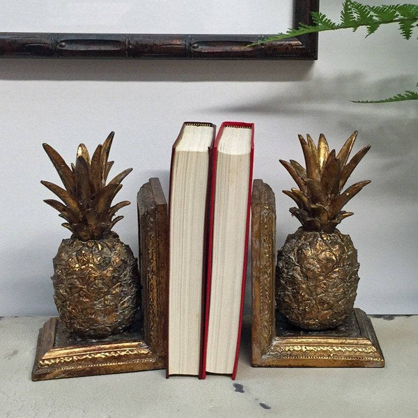 Antique Style Gold Pineapple Bookends - The Farthing