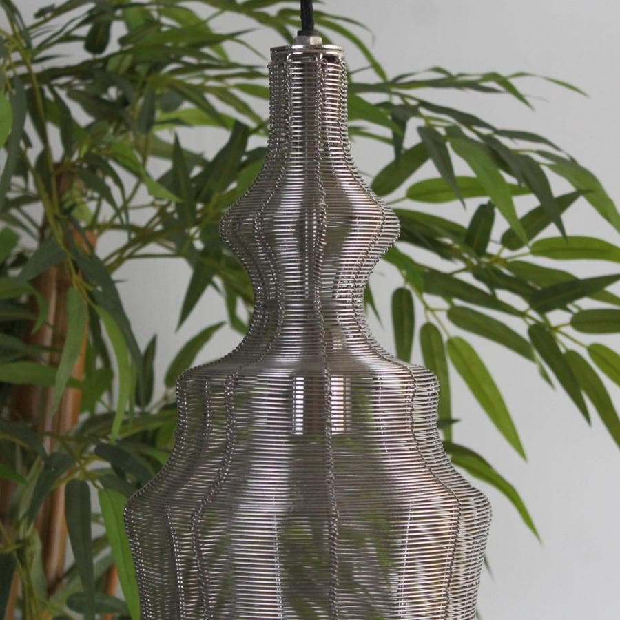 Tall Nickel Wire Shaped Pendant Light | Farthing