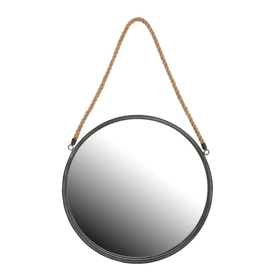 Antiqued Black Hanging Metal Rope Mirror - The Farthing