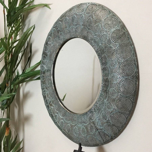 Antiqued Filigree Metal Wall Mirror at the Farthing