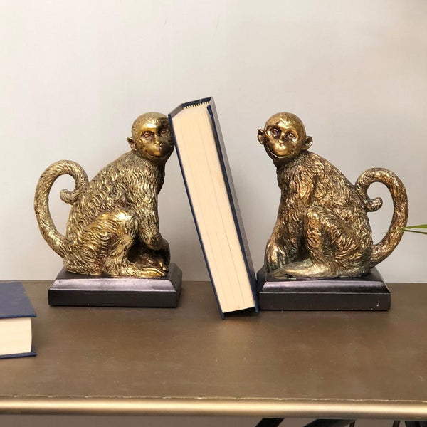 Antiqued Gold Sitting Monkey Bookends | Farthing