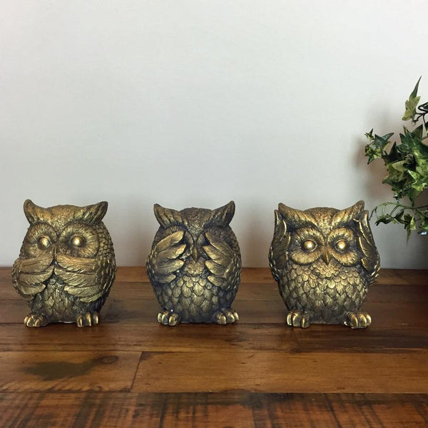 "Antiqued ""No Evil"" Owls at the Farthing"