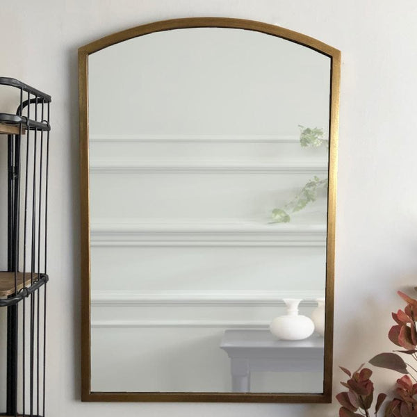 Antiqued Gold Arched Top Portrait Mirror tall