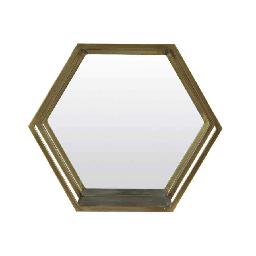 Antiqued Gold Hexagonal Metal Wall Shelf with Mirror