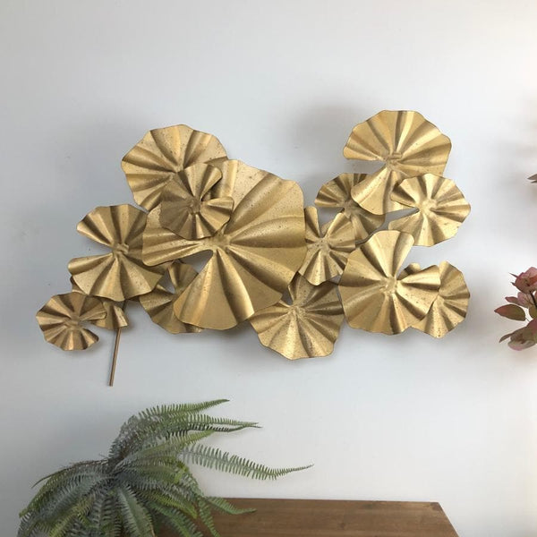 Antiqued Gold Lily Pad Wall Art at the Farthing 11