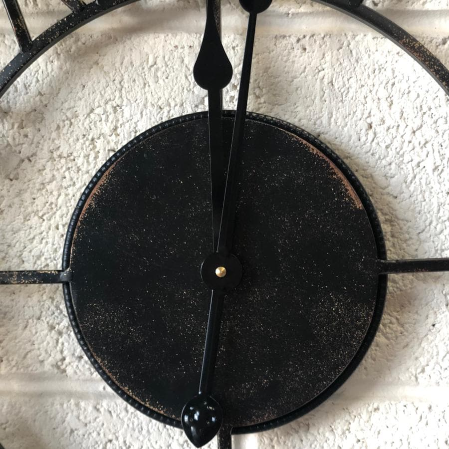 Antiqued Black Indoor Outdoor Skeleton Clock at the Farthing  1