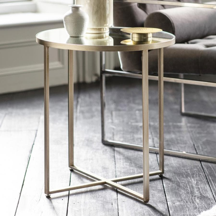 Antiqued Brush Silver Side Table at the Farthing