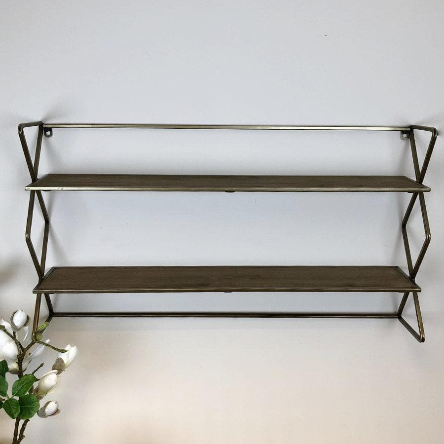 Antiqued Burnished Brass Shelves at the Farthing