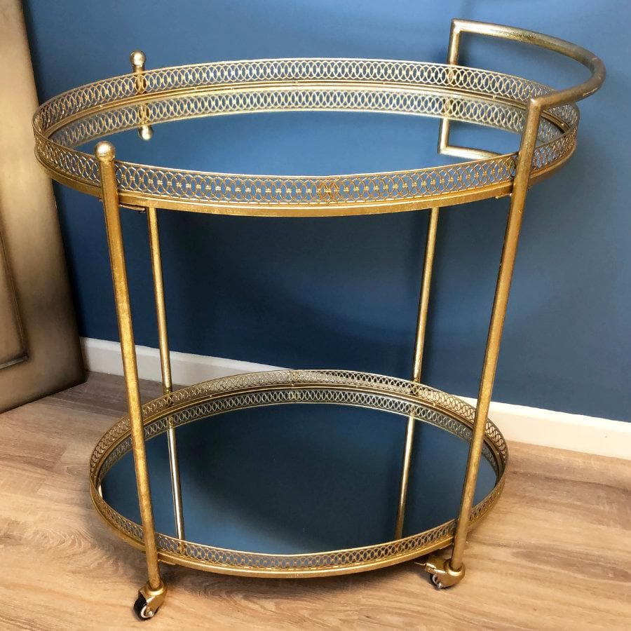 Antiqued Gold Drinks Trolley at the Farthing
