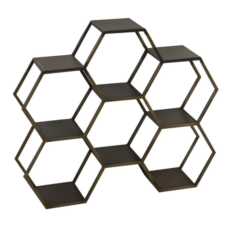 Antiqued Gold Hexagonal Floor Shelf Unit
