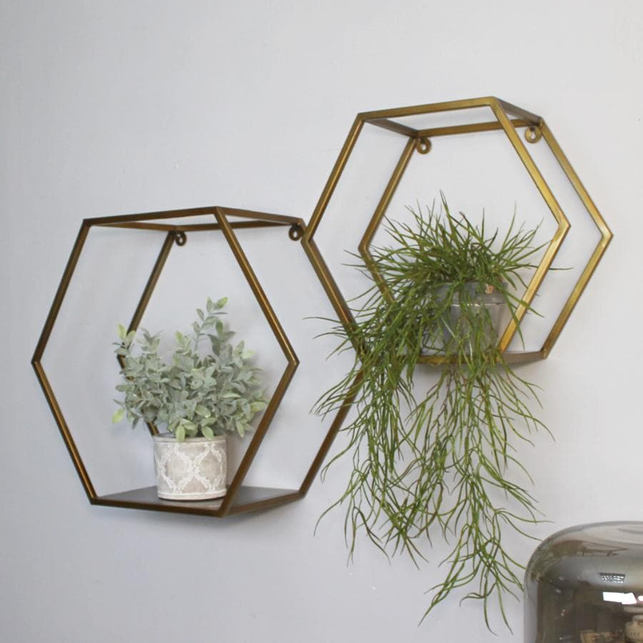 Antiqued Gold Hexagonal Metal Wall Shelf Set