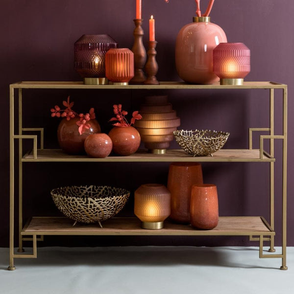 Antiqued Gold Metal and Wood Floor Shelf Unit