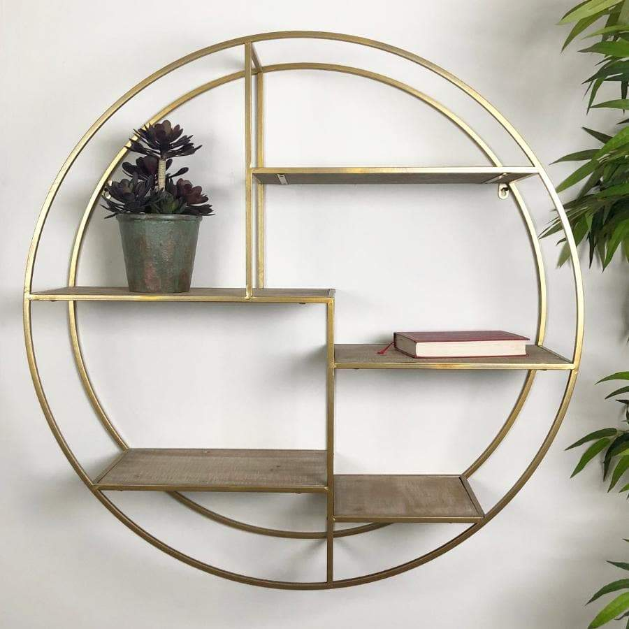 Antiqued Gold Metal and Wood Round Wall Shelving Unit | The Farthing