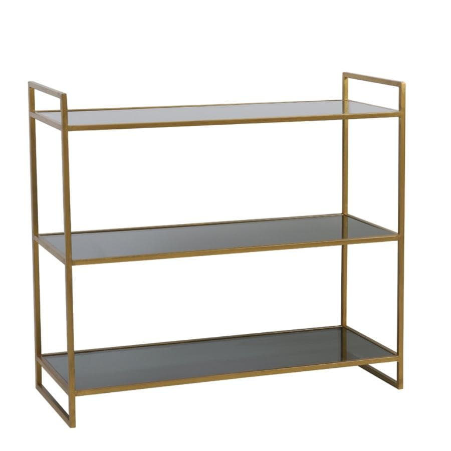 Antiqued Gold and Smoked Glass Three Tier Shelf Unit