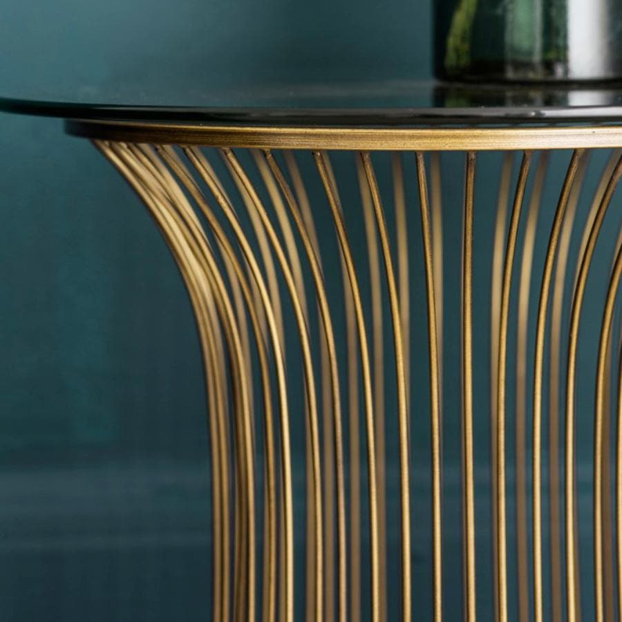 Antiqued Golden Wire Side Table at the Farthing