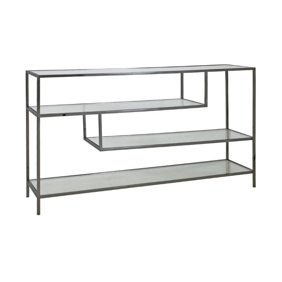 Antiqued Metal & Glass Shelved Storage Console at the Farthing