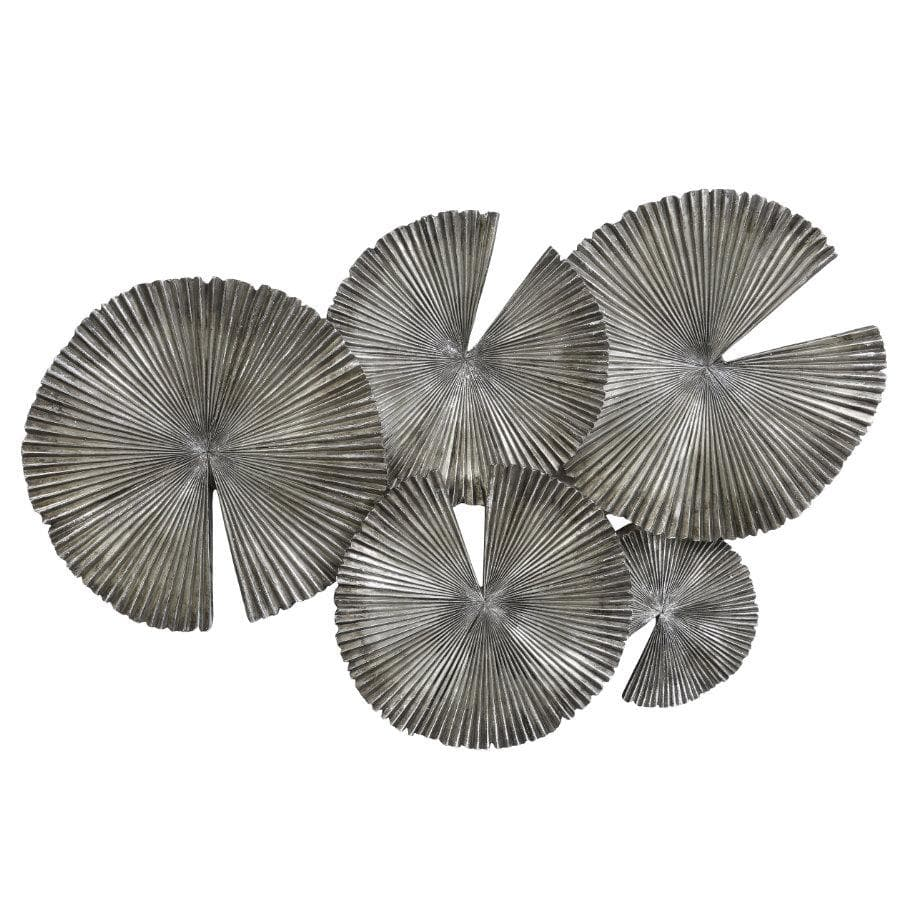 Antiqued Sparkle Silver Lily Pad Wall Art | The Farthing