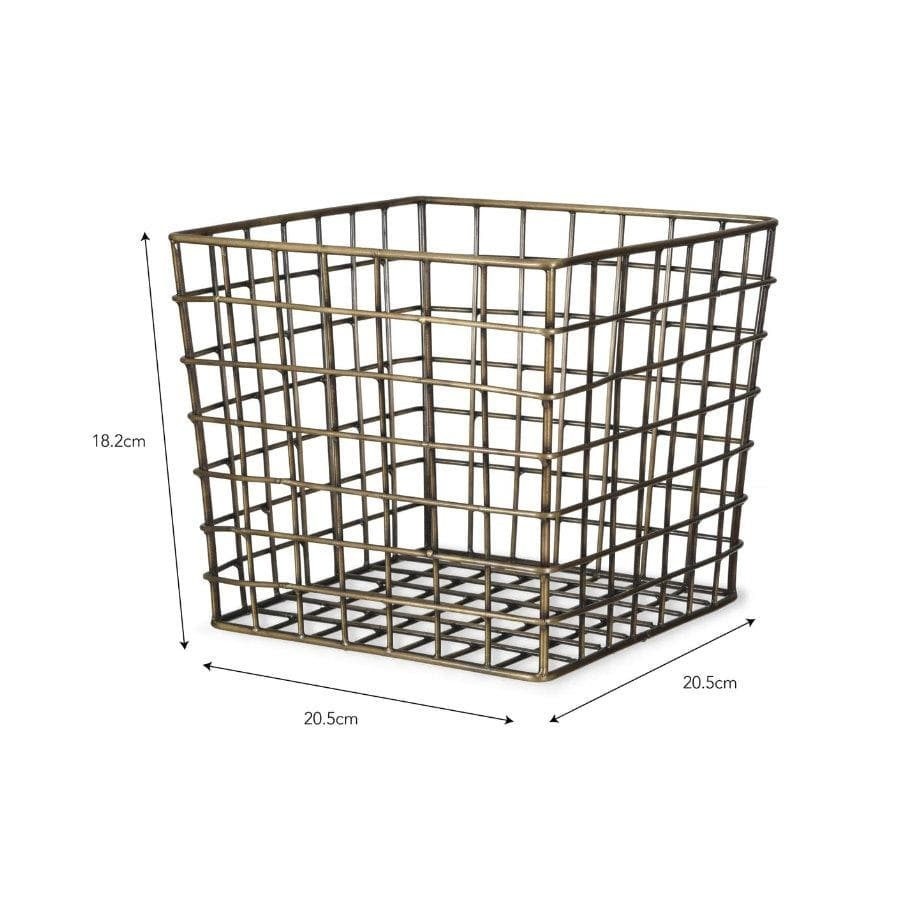 Brompton Utility Basket in Antique Brass Finish at the Farthing