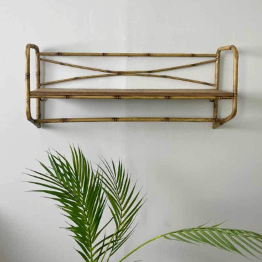 Bamboo Inspired Metal Wall Shelf Set